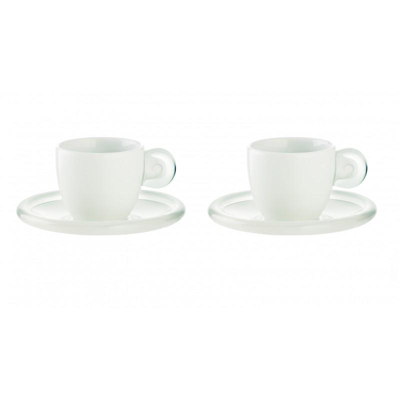 Set di 6 tazzine  con piattino per il caffè - Gocce - Guzzini - bianco