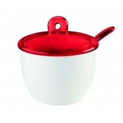 Zuccheriera con cucchiaino Gocce - Guzzini - rosso trasparente-casanova buccino