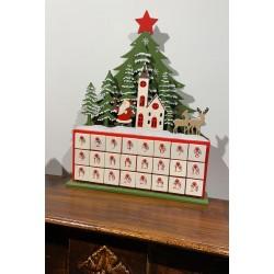 Calendario Avvento in legno con Led - 24 cassetti