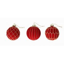 Set 3 sfere rosso velvet...