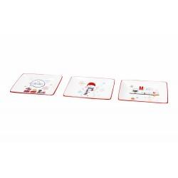 Set 3 piatti rettangolari in ceramica 13x10 Christmas red cocktail - Andrea Fontebasso - Tognana